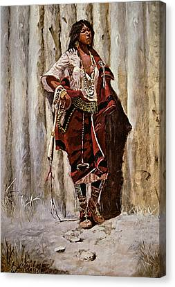Indian Maid At The Stockade Canvas Print by Charles Marion Russell