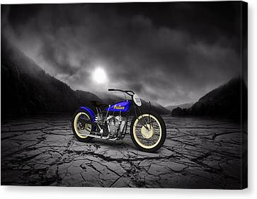 Indian Motorcycle Flat Track Racer 1928 Mountains Canvas Print by Aged Pixel