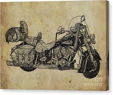Indian Motorcycle On Vintage Background, Gift For Bikers, Man Cave Decoration Canvas Print