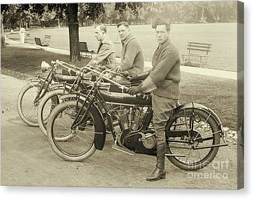 Park Benches Canvas Print - Indian Motorcycle Relay Team 1918 by Padre Art