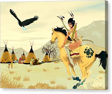 Indian On Horse Canvas Print by Lynn Rider