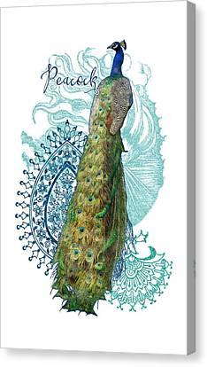 Indian Peacock Henna Design Paisley Swirls Canvas Print