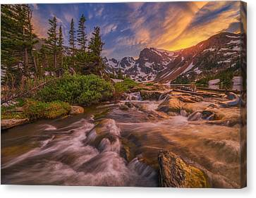 Indian Peaks Sunset Canvas Print by Darren  White