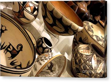 Indian Pottery Canvas Print by Linda  Parker