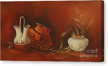 Indian Pottery With Wheat Canvas Print by Ann Kleinpeter