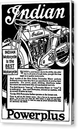 Canvas Print featuring the digital art Indian Power Plus Motocycle Ad 1916 by Daniel Hagerman
