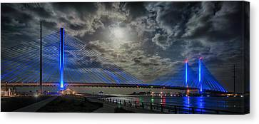 Indian River Bridge Moonlight Panorama Canvas Print by Bill Swartwout