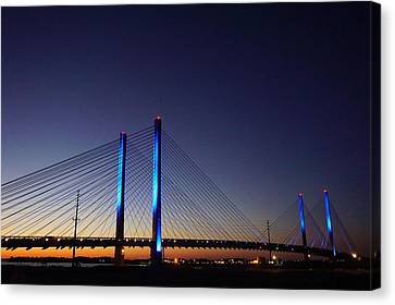 Canvas Print featuring the photograph Indian River Inlet Bridge by Ed Sweeney