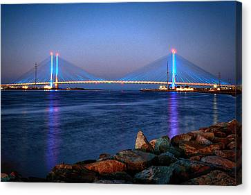 Indian River Inlet Bridge Twilight Canvas Print by Bill Swartwout