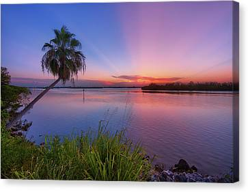 Indian River State Park Bursting Sunset Canvas Print by Justin Kelefas