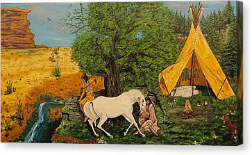 Indian Romance Canvas Print by V Boge