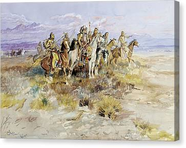 Indian Scouting Party Canvas Print by Charles Marion Russell