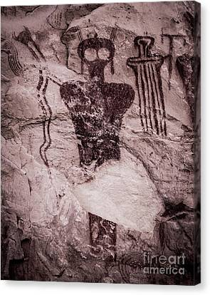 Indian Shaman Rock Art Canvas Print by Gary Whitton