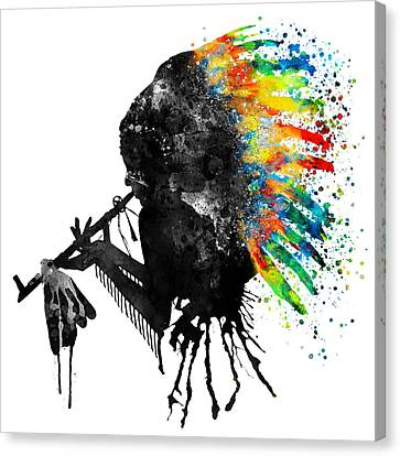 Indian Silhouette With Colorful Headdress Canvas Print by Marian Voicu