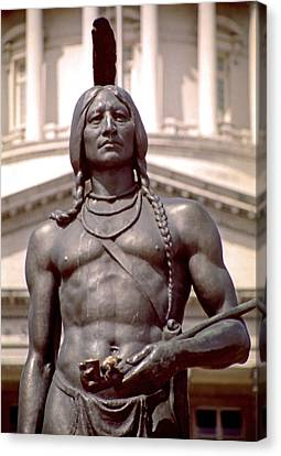 Indian Statue At Utah State Capitol Canvas Print by Steve Ohlsen