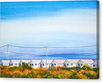 Indian Summer Days Cottages North Truro Massachusetts Watercolor Painting Canvas Print by Michelle Wiarda