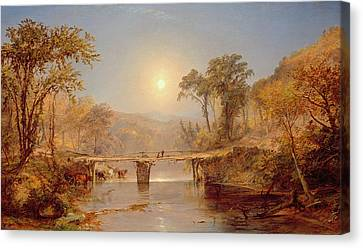 Indian Summer On The Delaware River Canvas Print by Jasper Francis Cropsey