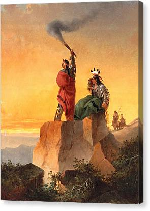 Setting Canvas Print - Indian Telegraph by John Mix Stanley