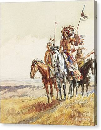 Indian War Party Canvas Print by Charles Marion Russell
