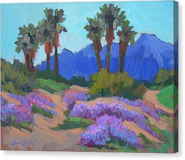 Canvas Print featuring the painting Indian Wells Verbena by Diane McClary