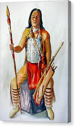Indian With Spear And Arrows Canvas Print by Murray Keshner