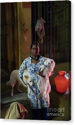 Canvas Print featuring the photograph Indian Woman And Her Dogs by Mike Reid