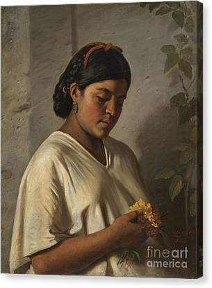 Indian Woman With Marigold Canvas Print
