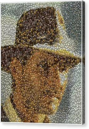 Canvas Print featuring the mixed media Indiana Jones Treasure Coins Mosaic by Paul Van Scott