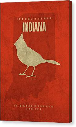 Indiana State Facts Minimalist Movie Poster Art Canvas Print