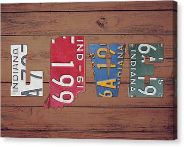 Indiana Canvas Print - Indiana State Love License Plate Art Phrase by Design Turnpike