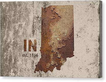 Rust Canvas Print - Indiana State Map Industrial Rusted Metal On Cement Wall With Founding Date Series 032 by Design Turnpike