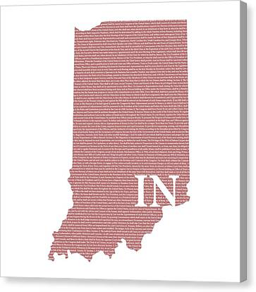 Indiana Canvas Print - Indiana State Map With Text Of Constitution by Design Turnpike