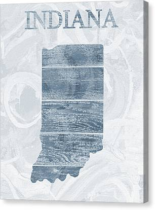 Indiana State Outline Barn Door Canvas Print by Dan Sproul