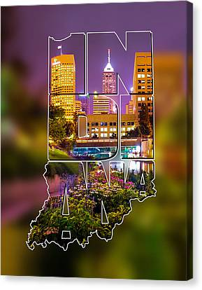 Indiana Typographic Blur - Downtown Indianapolis Skyline At Night - United States Artwork Canvas Print