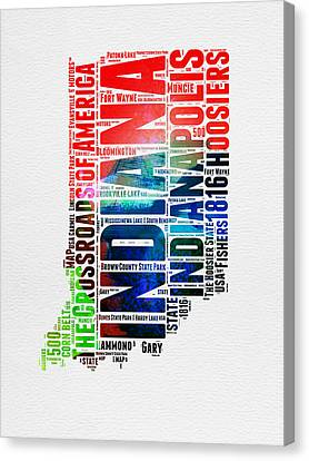 Indiana Watercolor Word Cloud Map  Canvas Print by Naxart Studio