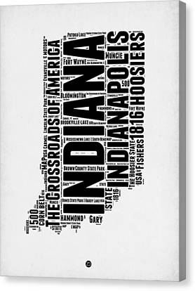 Indiana Word Cloud Map 2 Canvas Print