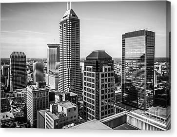 Indianapolis Aerial Black And White Photo Canvas Print by Paul Velgos