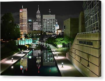 Indianapolis Canal Night View Canvas Print by Frozen in Time Fine Art Photography