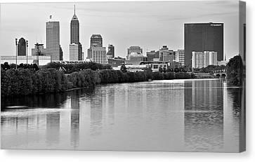 Indianapolis Charcoal Panoramic Canvas Print