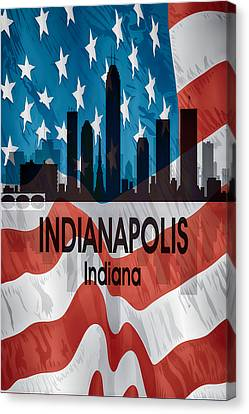 Indiana Landscapes Canvas Print - Indianapolis In American Flag Vertical by Angelina Vick