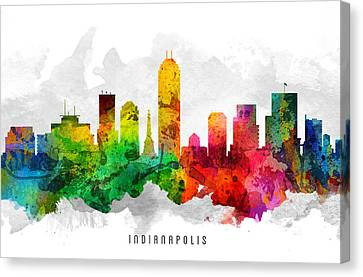 Indianapolis Indiana Cityscape 12 Canvas Print by Aged Pixel