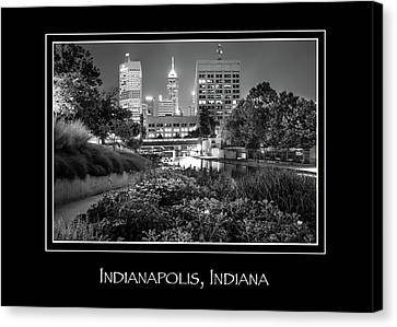 Indianapolis Indiana Skyline City Name Print - Black And White Canvas Print