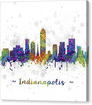Indianapolis Indiana Skyline Color 03sq Canvas Print