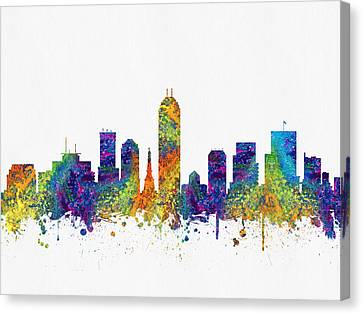 Indianapolis Indiana Skyline Color03 Canvas Print by Aged Pixel