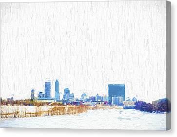 Indianapolis Indiana Skyline Creative Blue Canvas Print by David Haskett