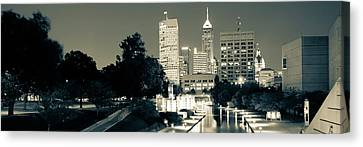 Indianapolis Indiana Skyline Panoramic Sepia Canvas Print by Gregory Ballos
