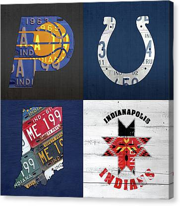 Indianapolis Indiana Sports Team License Plate Art Collage Map Pacers Colts Indians Canvas Print