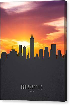 Indianapolis Indiana Sunset Skyline 01 Canvas Print by Aged Pixel