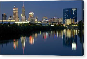 Indianapolis Night Canvas Print by Frozen in Time Fine Art Photography