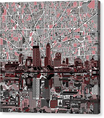 Abstract Digital Canvas Print - Indianapolis Skyline Abstract 1 by Bekim Art